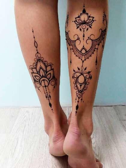 Tatuajes temporales pantorrilla mujer