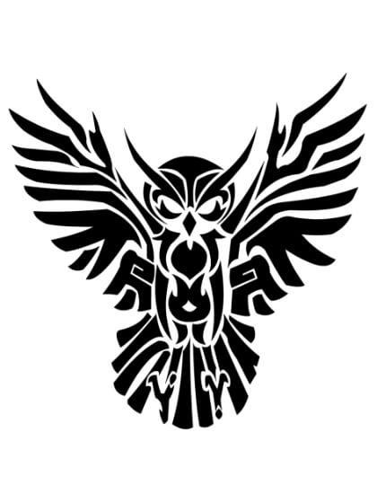 Tatuaje Temporal Tribal Búho