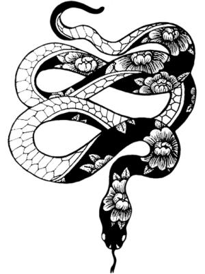 serpiente negra con flores